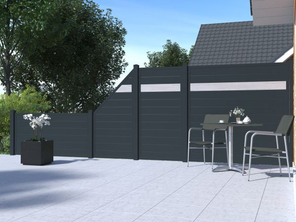 Alu-Sichtschutz rechteckig, anthrazit/Sheffield Oak