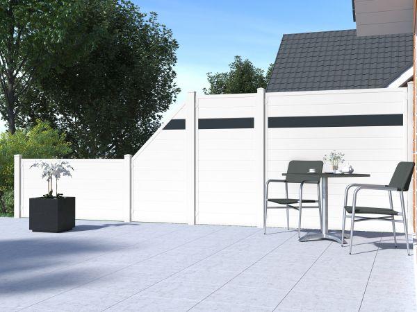 Alu-Sichtschutz rechteckig, weiß/anthrazit