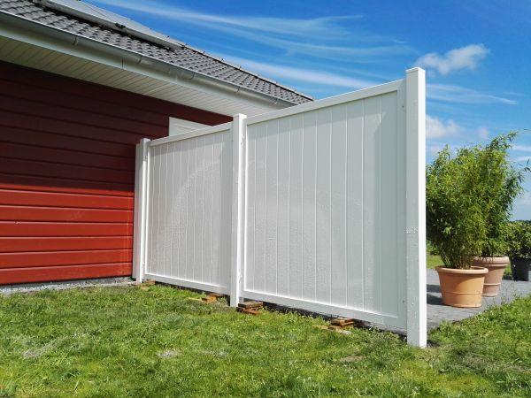 Sichtschutz rechtwinklig, senkrechter Füllungsverlauf, weiß, 180x90cm
