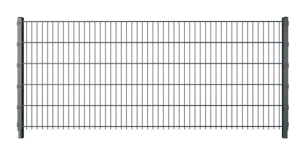 Doppelstabmattenzaun mit Abdeckleiste 6/5/6 anthrazit (RAL 7016)
