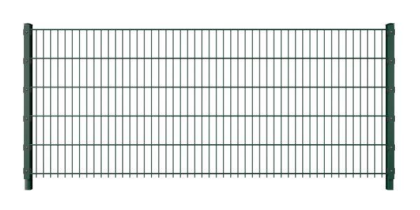 Doppelstabmattenzaun mit Abdeckleiste 6/5/6 grün (RAL 6005)