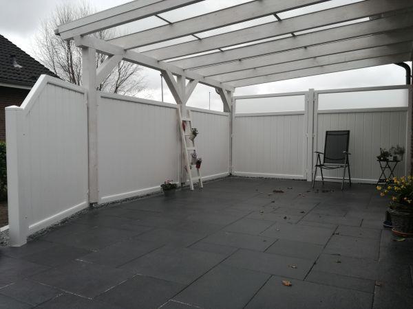 Sichtschutz mit satiniertem Glas, senkrechter Füllungsverlauf, weiß, 180x180cm
